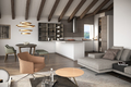 Rendering Wohn- Essbereich - zona cucina abitabile - soggiorno (nur zur Veranschaulichung - per solo scopo illustrativo)
